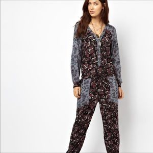 Free People Sheila Floral Long Sleeve Jumpsuit